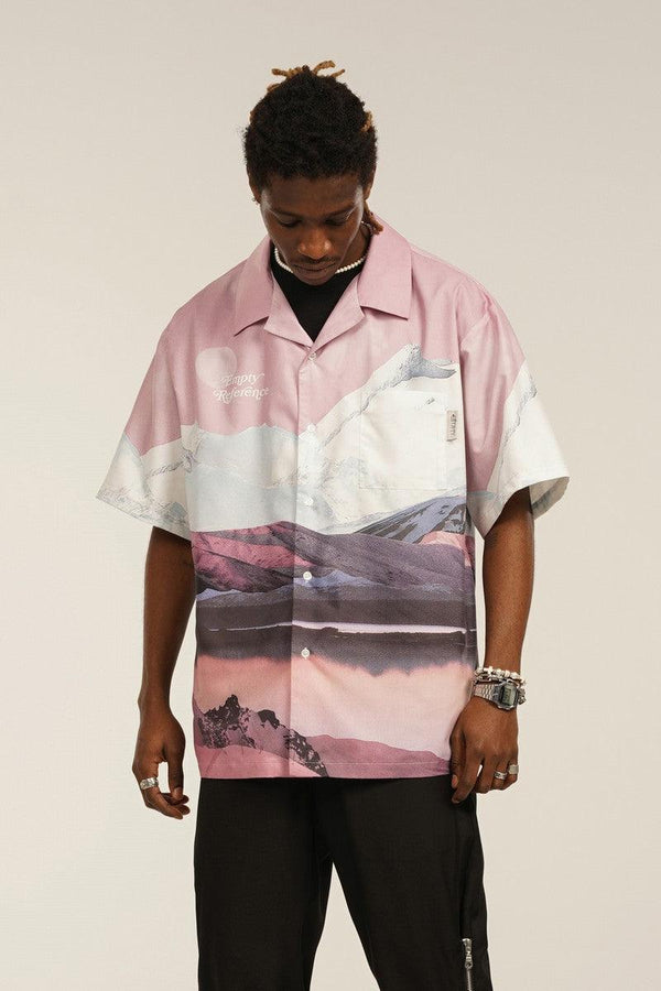 Empty Reference Mountains Print Cuban Shirt