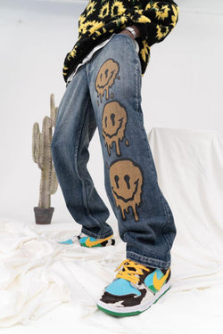 CZ Melting Smiley Printed Denim