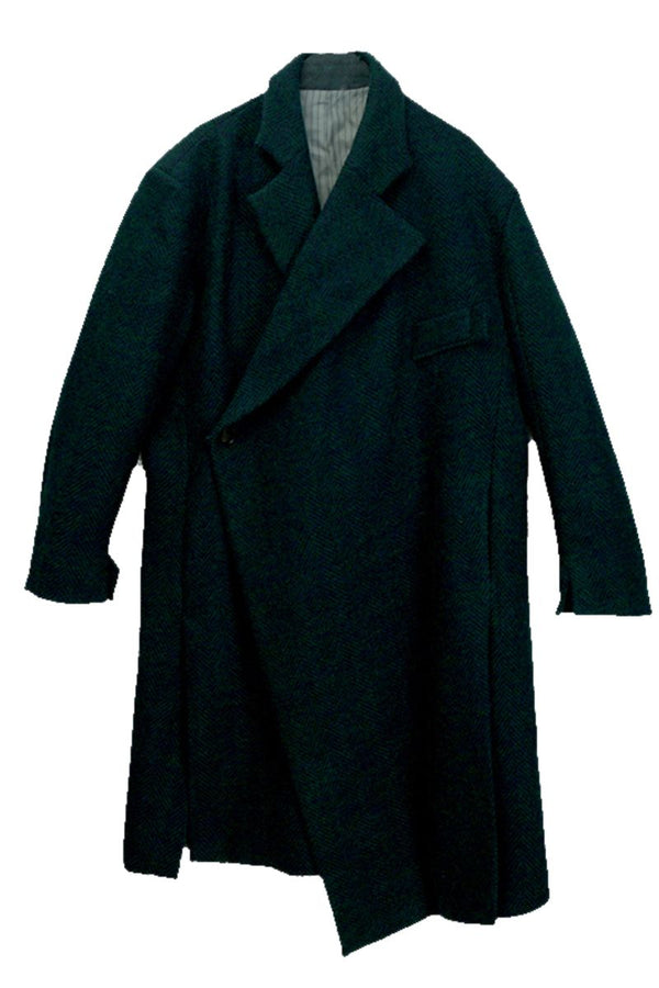 Mix7 Herringbone Asymmetrical Woolen Coat