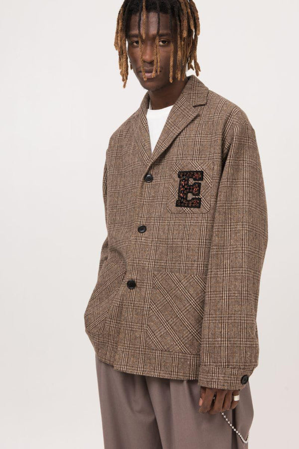 Empty Reference Embroidery Logo Plaid Blazer
