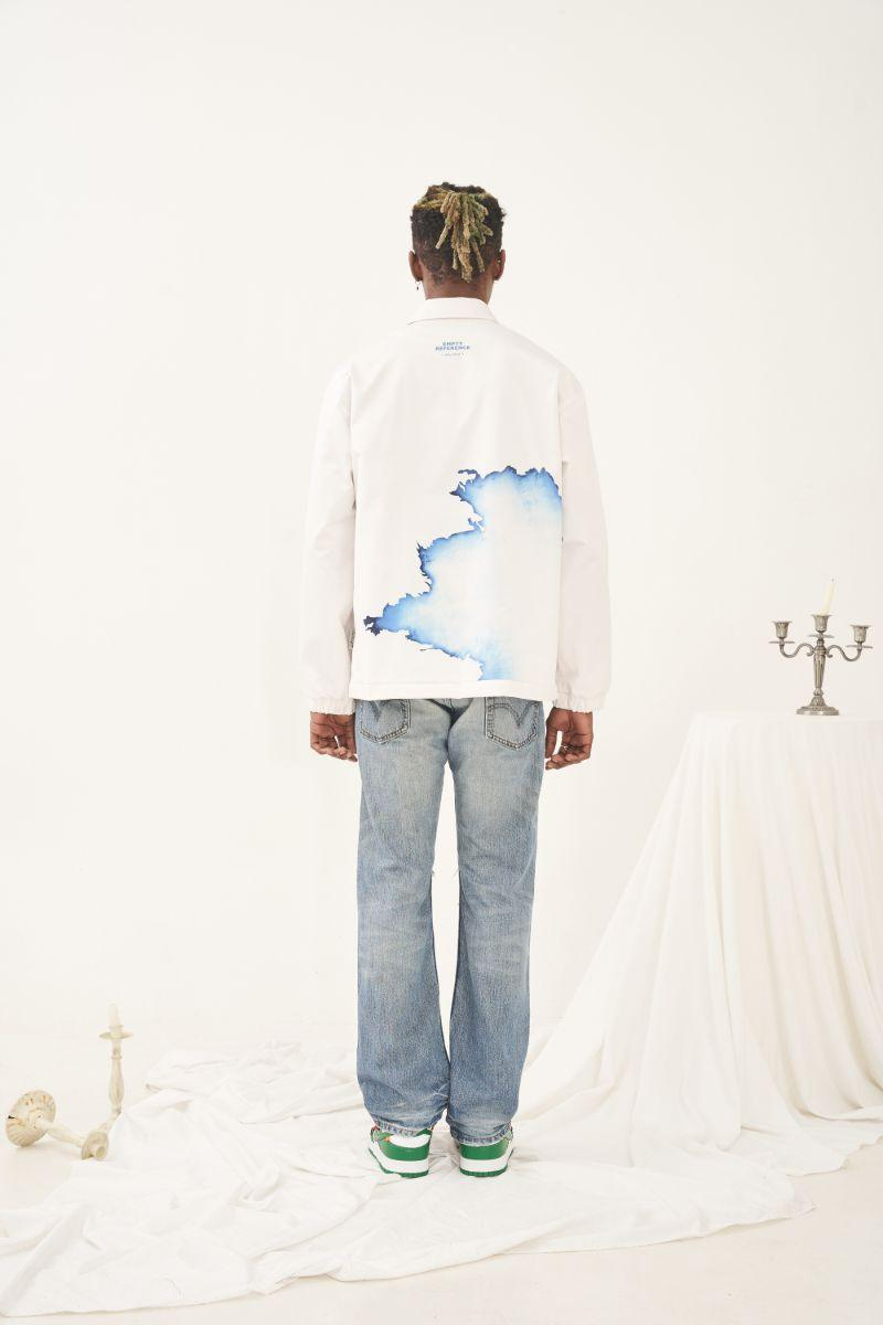 Empty Reference White Flame Printed Coach Jacket