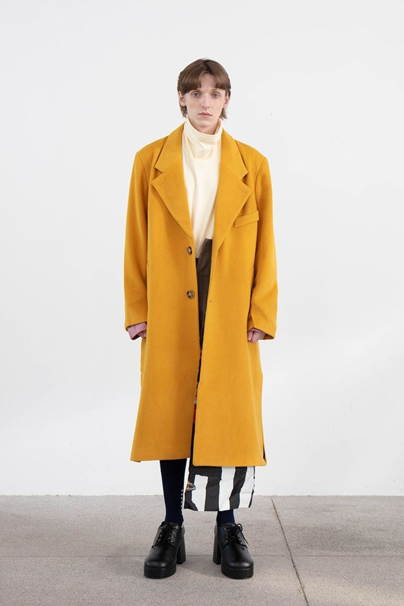 Mix7 Printed Yellow Woolen Coat