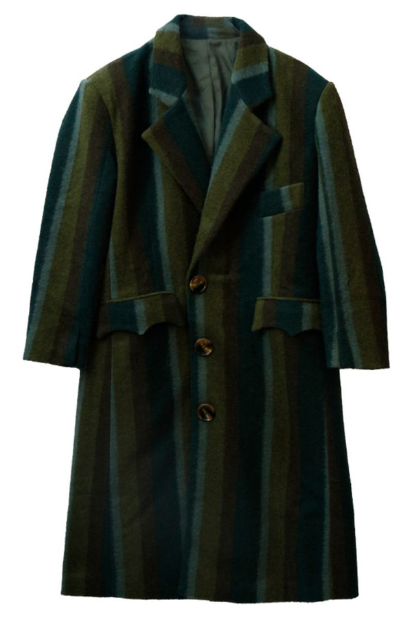 Mix7 Striped Heavy Wool Coat