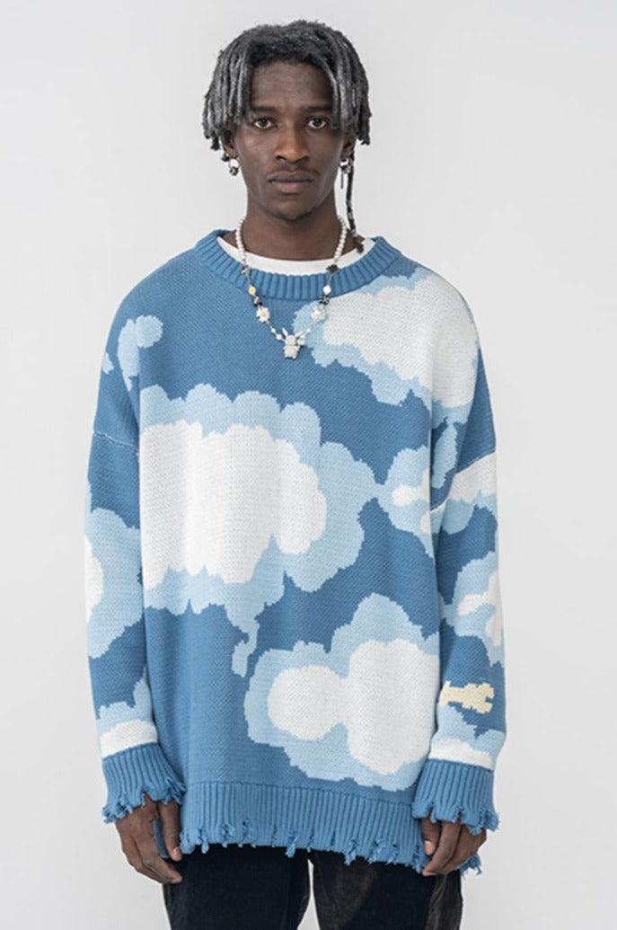 H/C Blue Sky Ripped Sweater
