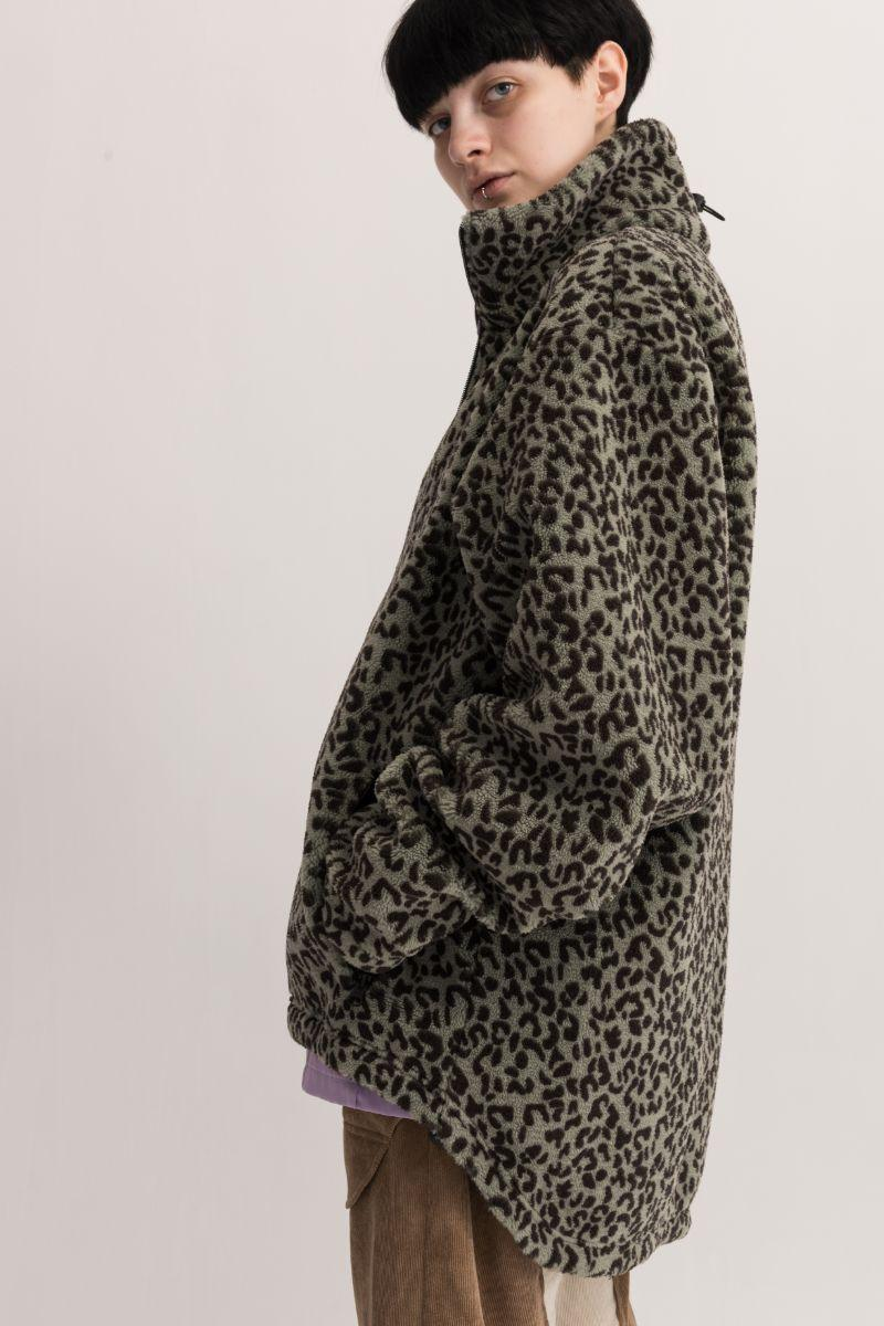 Empty Reference Leopard Pattern Zip Fleece