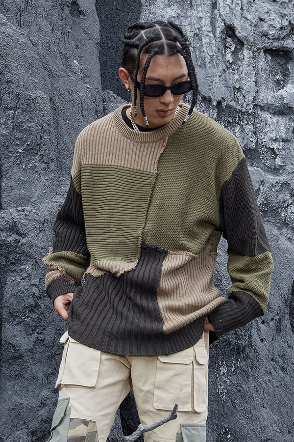 STEEPC Stitched Loose Knit Sweater