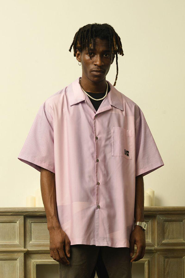 Empty Reference Pink Striped Cuban Shirt