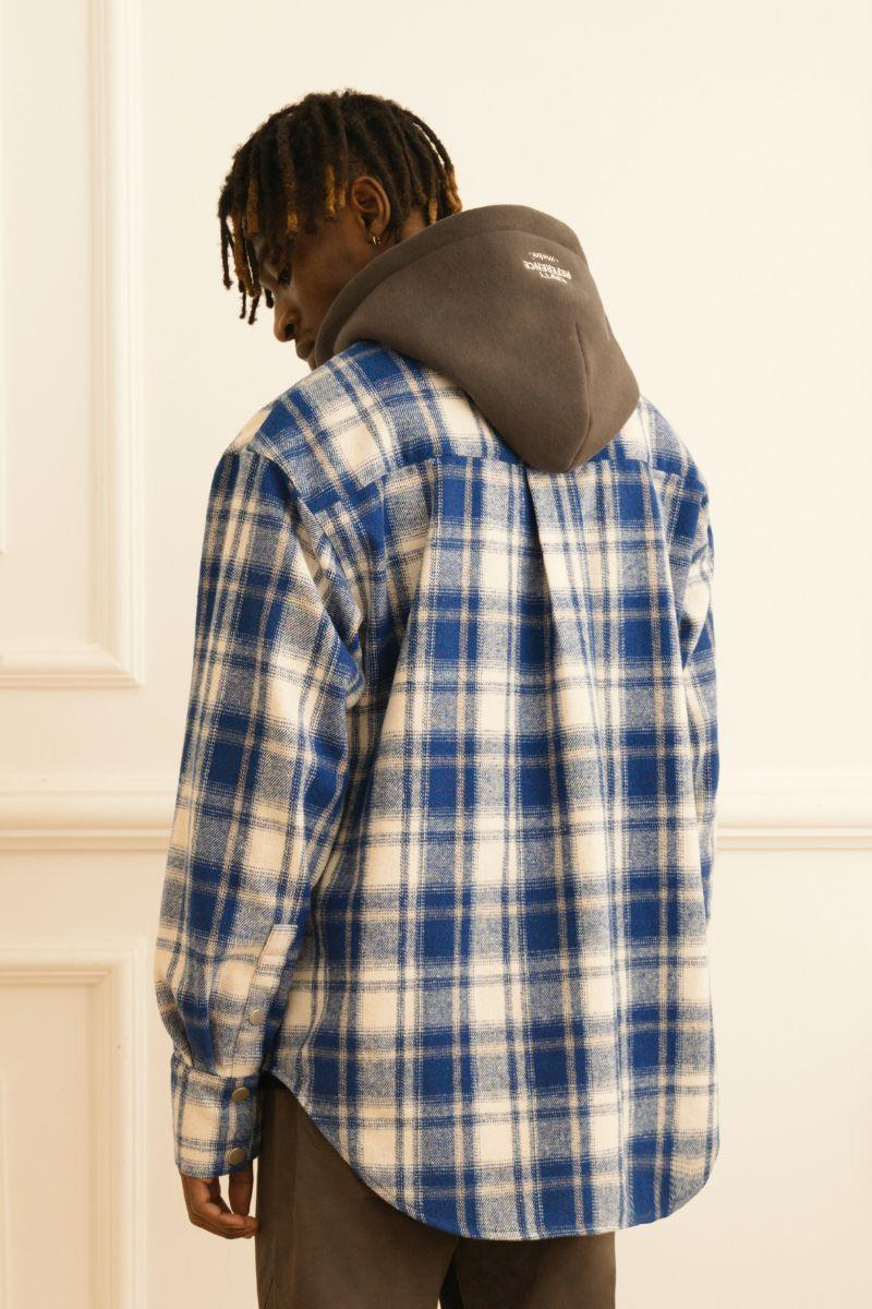 Empty Reference Plaid Woolen Hooded Jacket