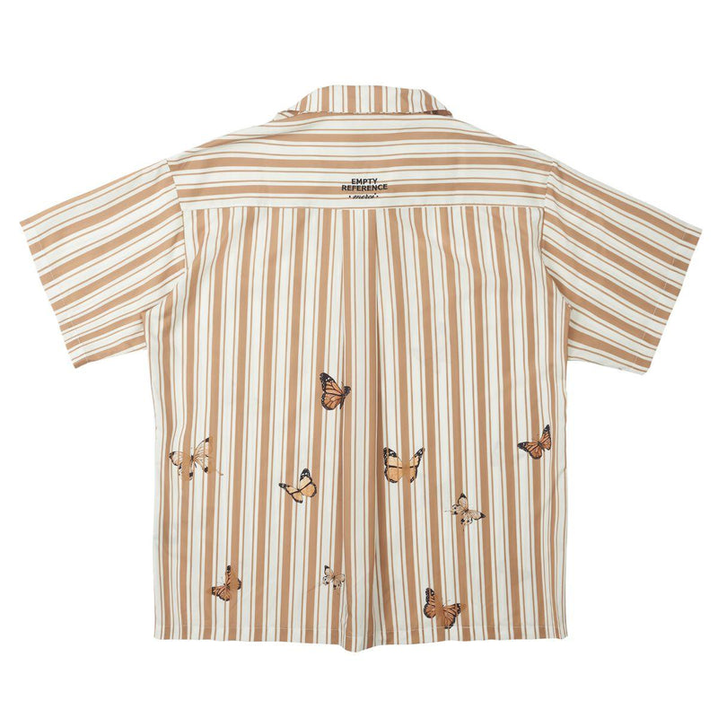 Empty Reference Butterflies Print Striped Shirt