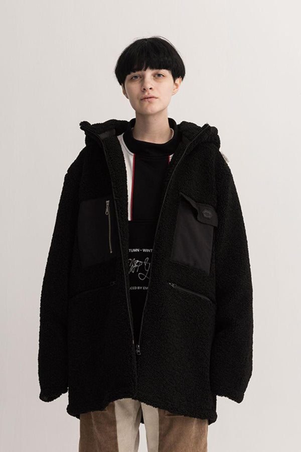 Empty Reference Black Sherpa Hooded Coat