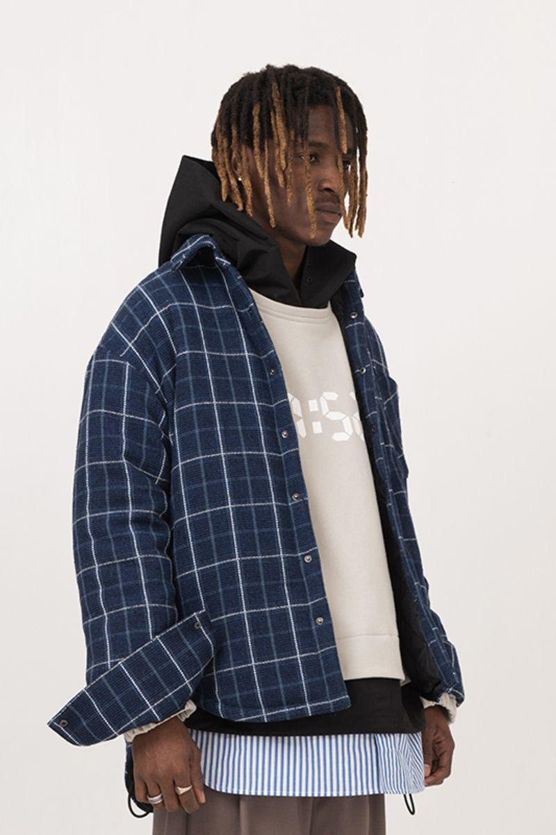 Empty Reference Blue Checkered Shirt Heavy Jacket
