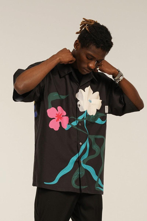 Empty Reference Dancing Flowers Cuban Shirt
