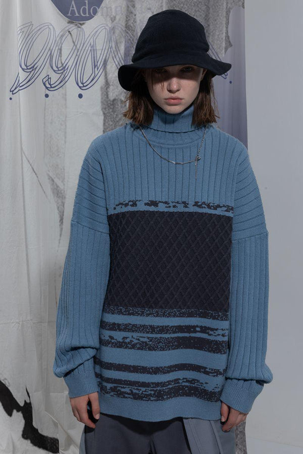BLIND High Neck Stitched Knitted Sweater