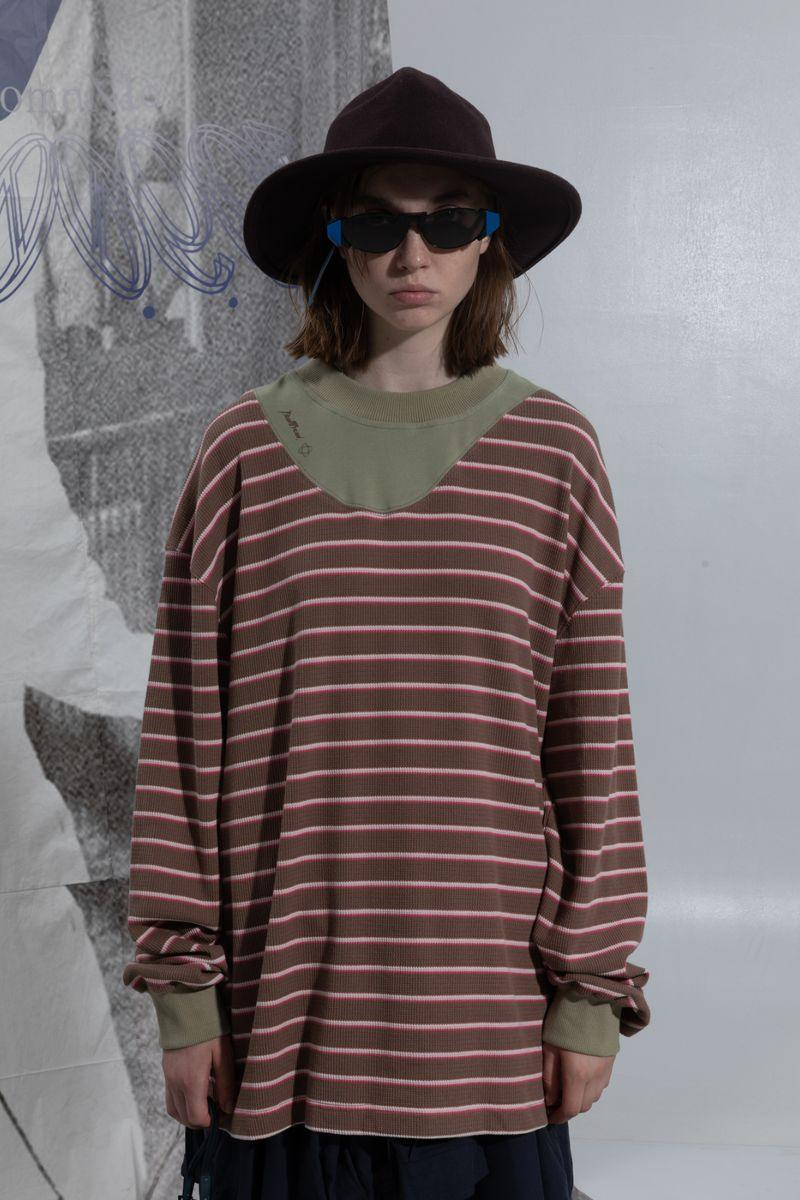 BLIND Striped Stitched Sweater