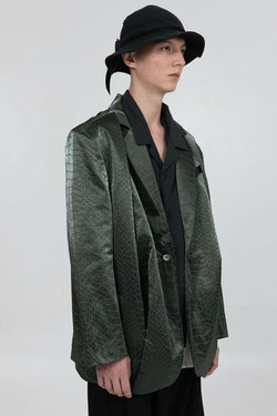 BLIND Crocodile Pattern Leather Suit Jacket