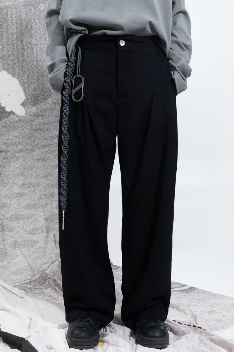 BLIND Pleated Straight Suit Trousers