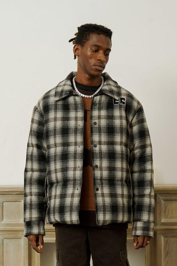 Empty Reference Woolen Plaid Jacket