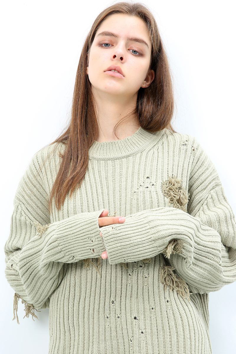 Unknown World Earth Gray Distressed Sweater