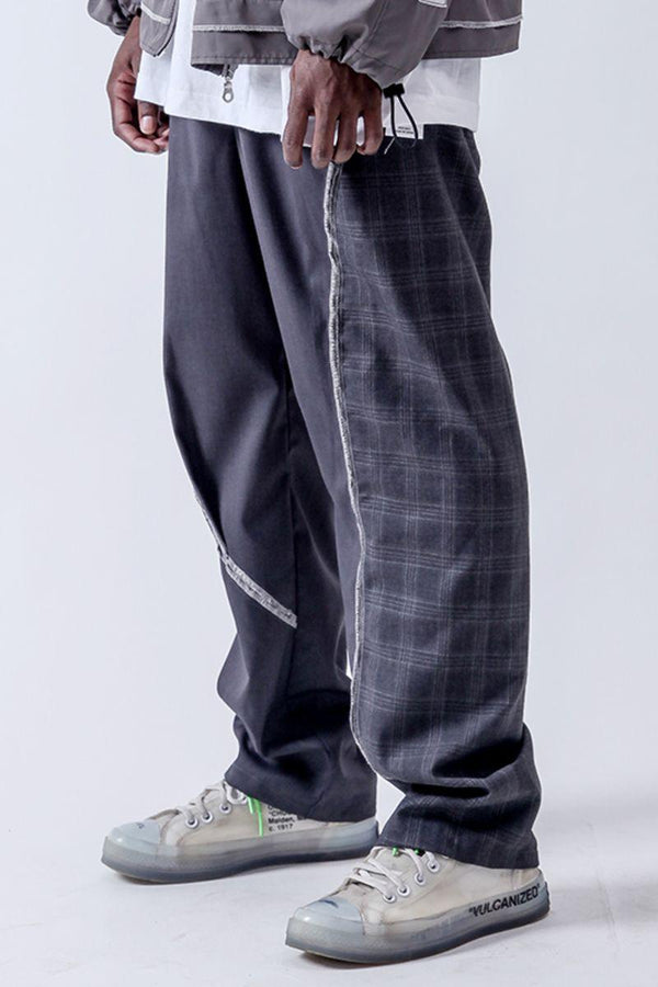 Center of Rotation Plaid Stitching Straight Trousers