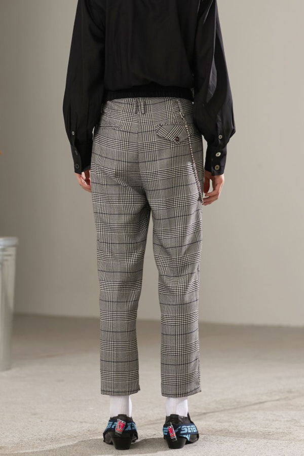 Mix7 Retro Plaid Straight Trousers
