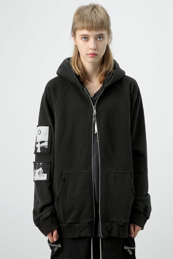 Unknown World Washed Distressed Coat Zipper Hoodie
