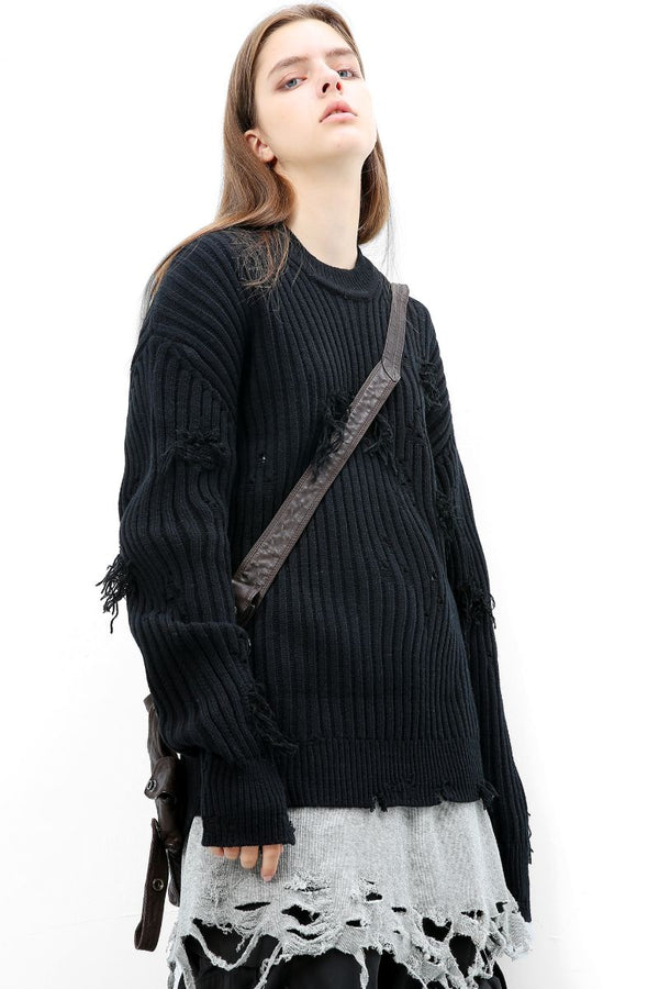 Unknown World Distressed Knit Sweater