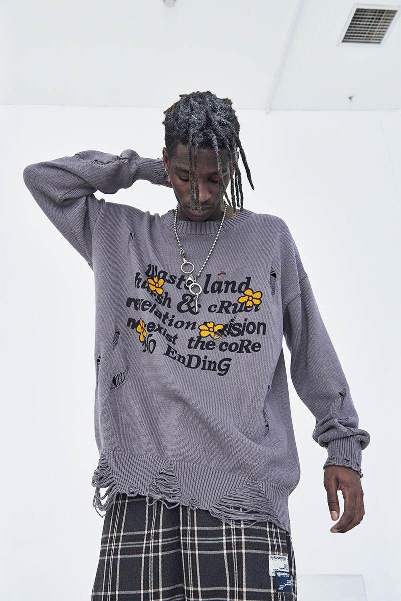 H/C Destroyed Fun Knit Sweater