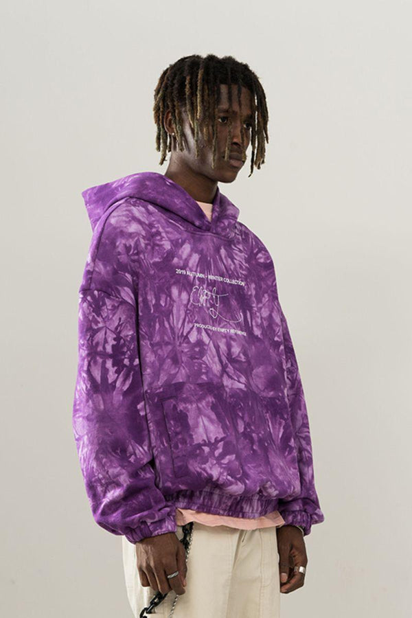 Empty Reference Purple Tie-Dyed Logo Hoodie