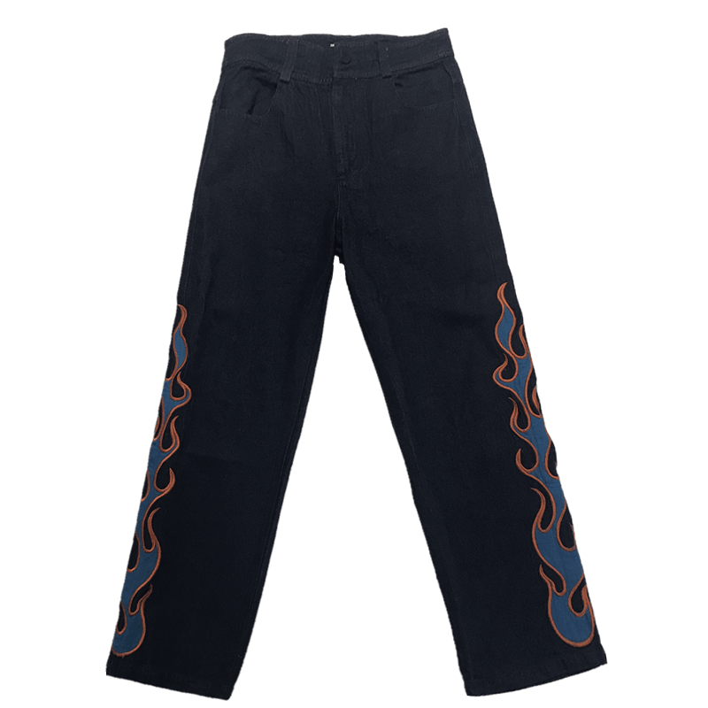 CZ Flame Embroidered Denim