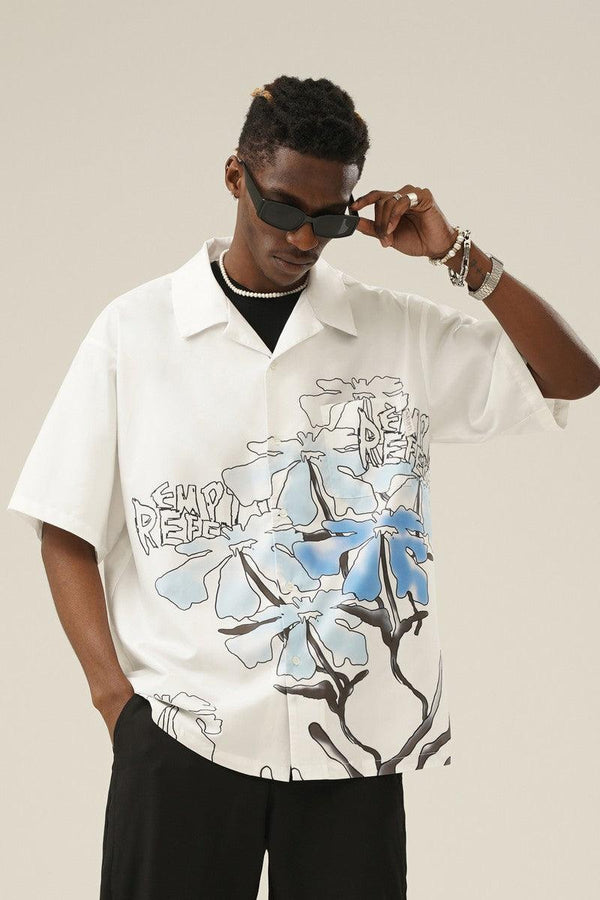 Empty Reference Hand Drawn Flowers Cuban Shirt