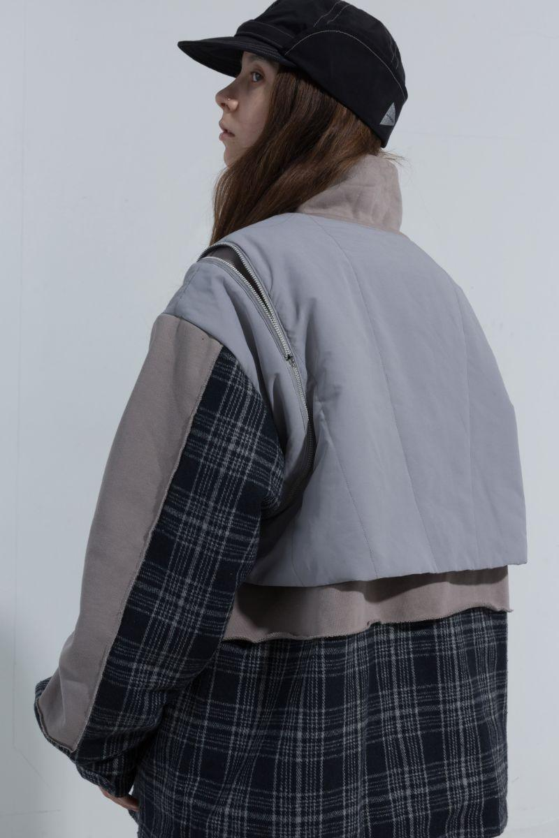 BLIND Detachable Vest Plaid Stitching Jacket