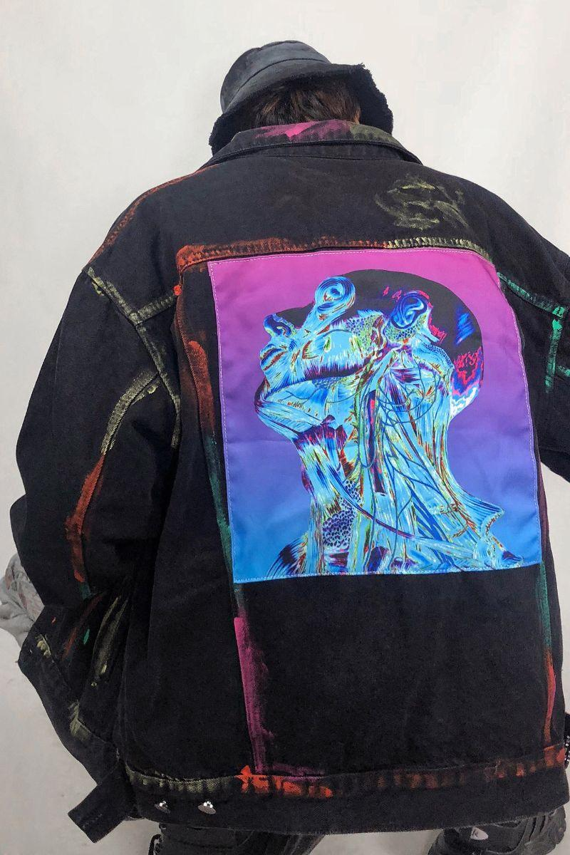 CZ Abstract Painted Denim Jacket