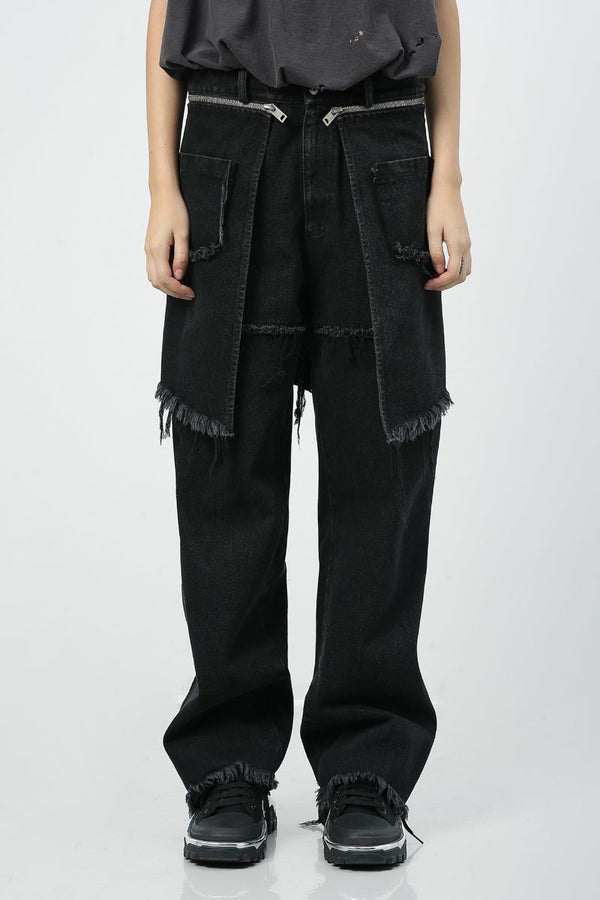 Unknown World Detachable Fabric Washed Denim