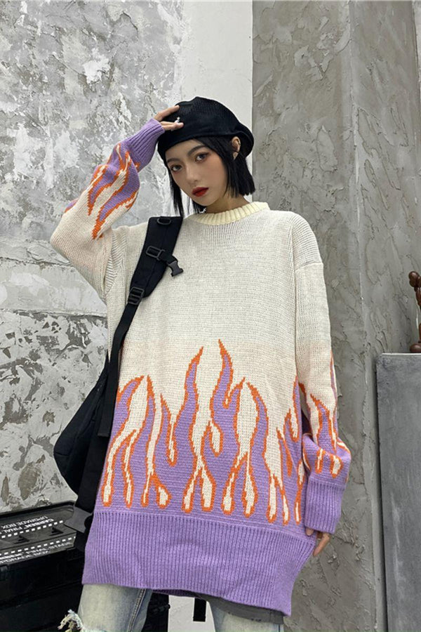 CZ Retro Flame Knit Sweater