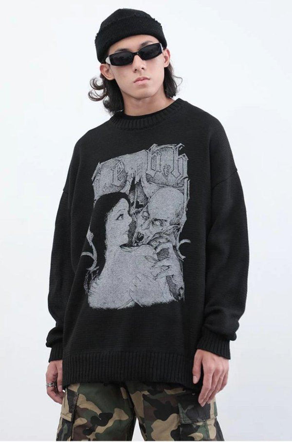 CZ Vampire Printed Sweater