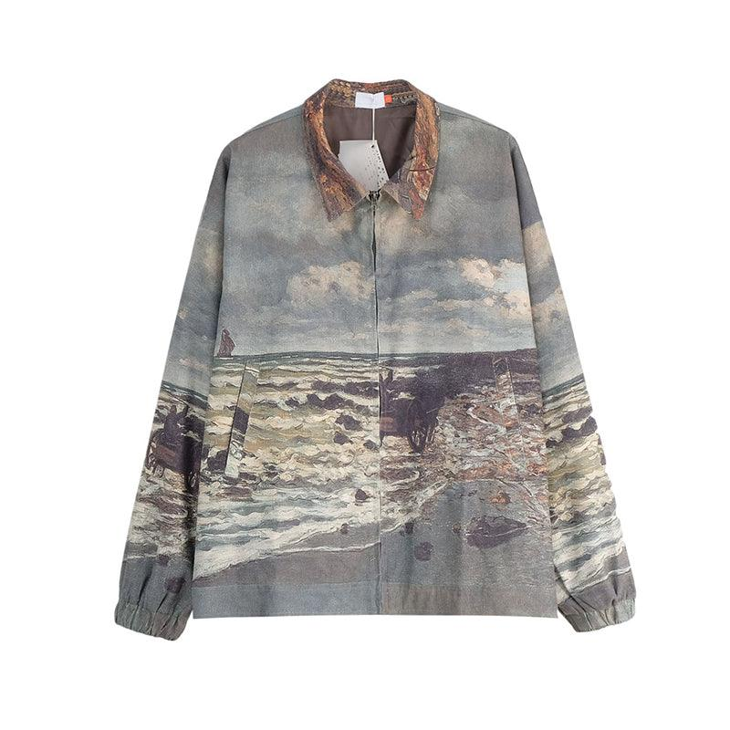 CZ Oil Painting Full Print Corduroy Jacket