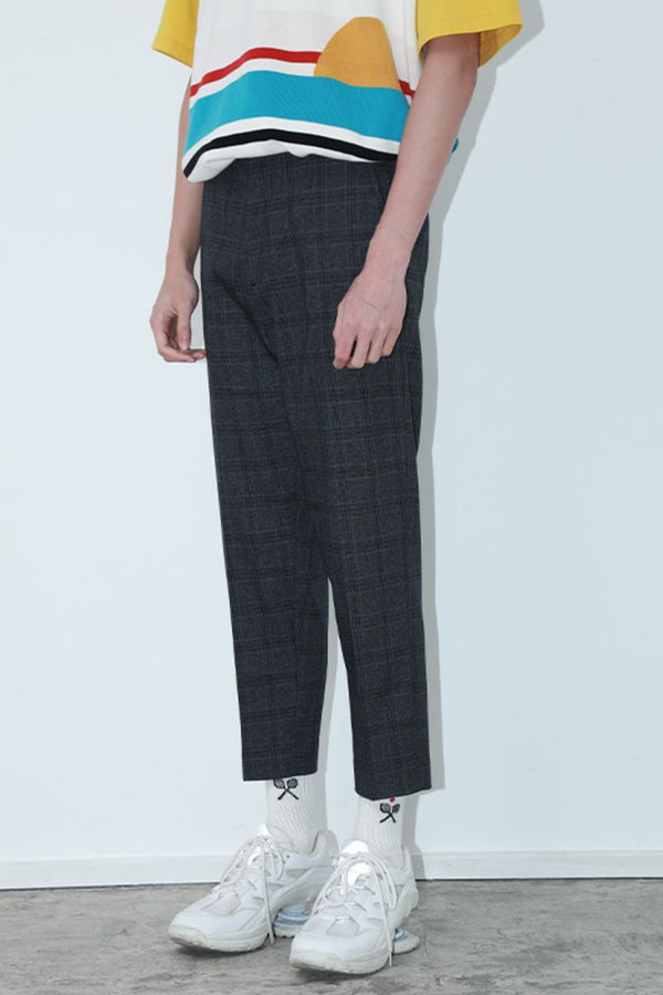 Mix7 Plaid Straight Trousers