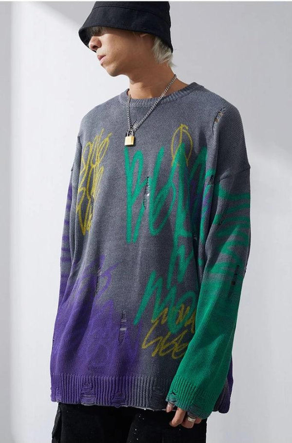 CZ Loose Graffiti Sweater