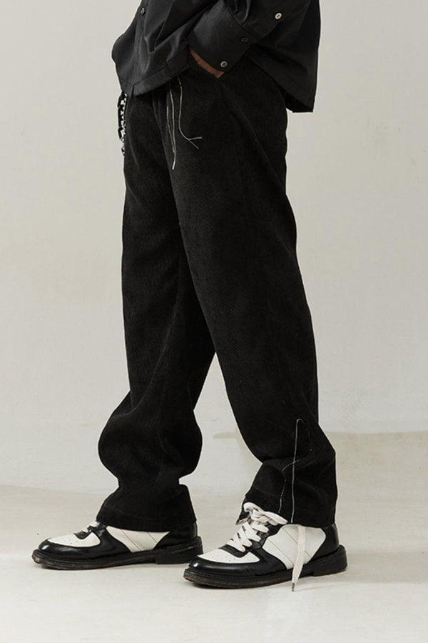 Empty Reference Black Corduroy Straight Trousers