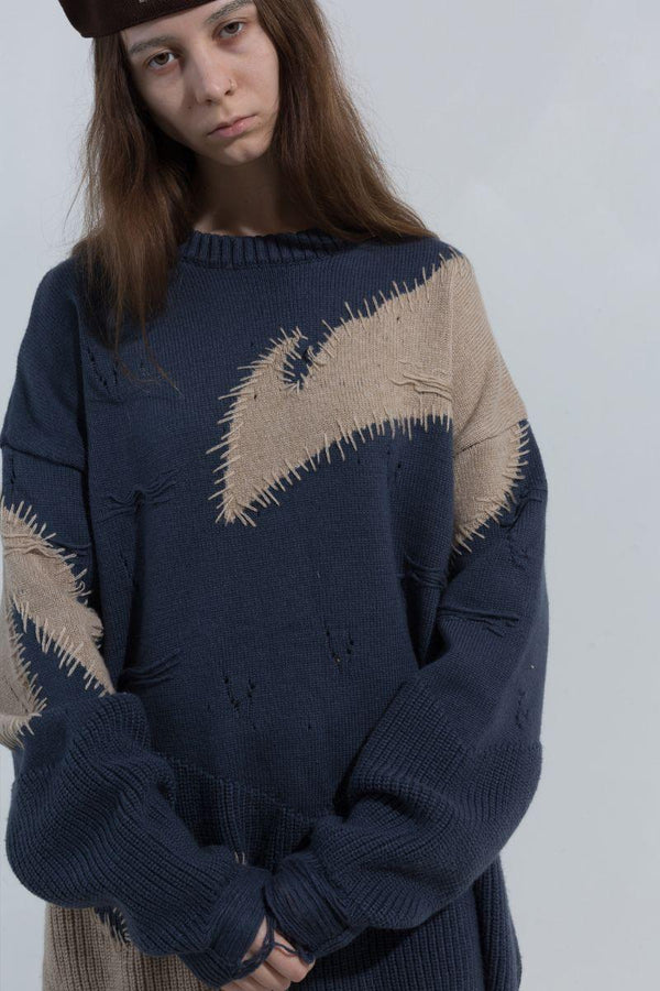 BLIND Retro Stitched Wool Sweater