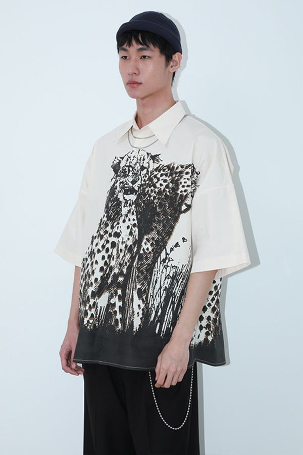 Mix7 Leopard Print Loose S/S Shirt
