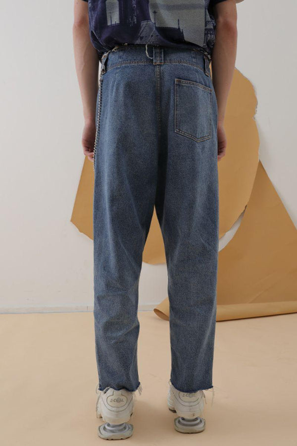 Mix7 Asymmetrical Loose Straight Denim