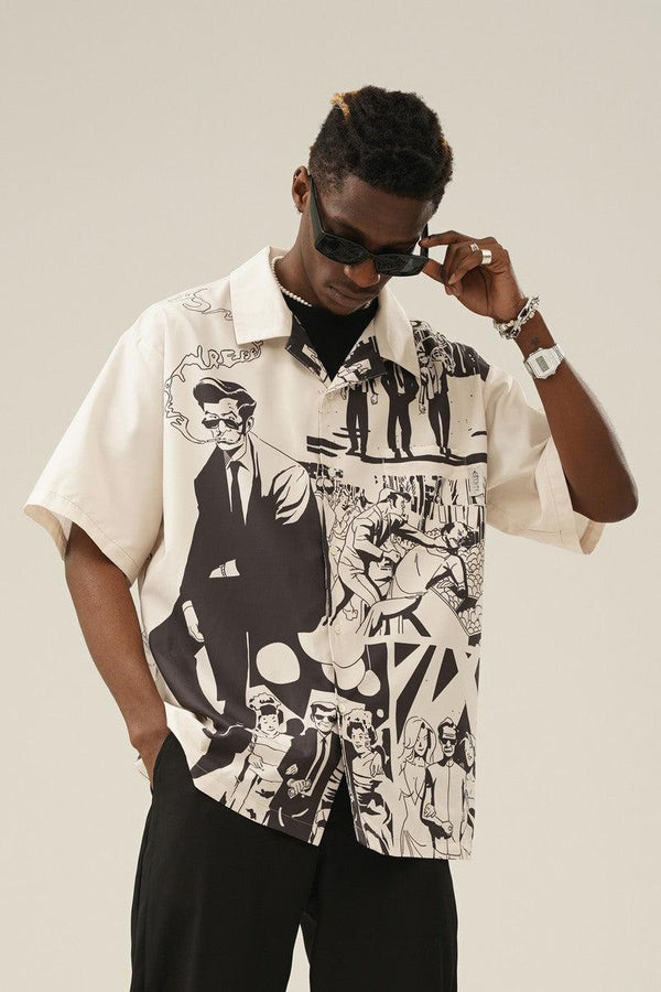 Empty Reference Killer Print Retro Cuban Shirt