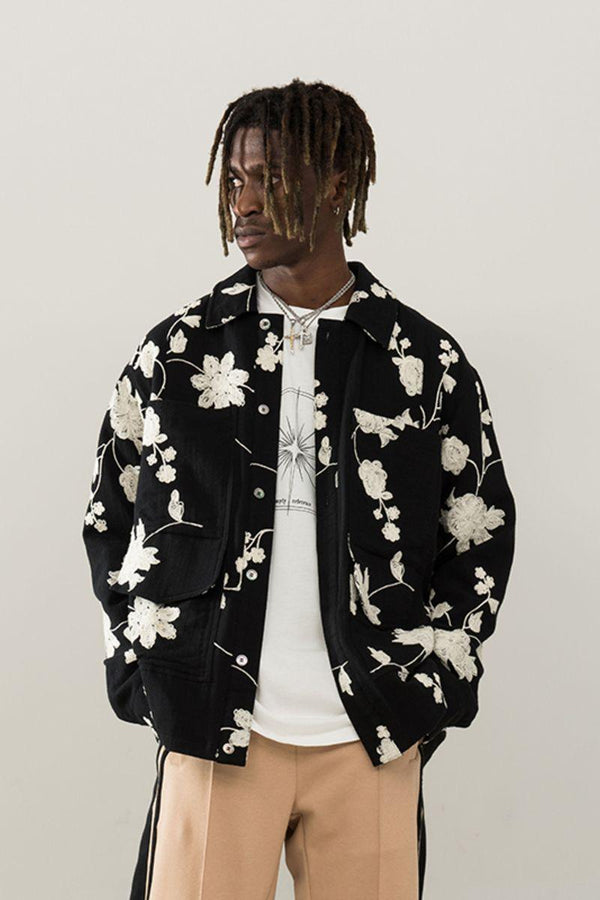 Empty Reference Embroidered Flowers Jacket