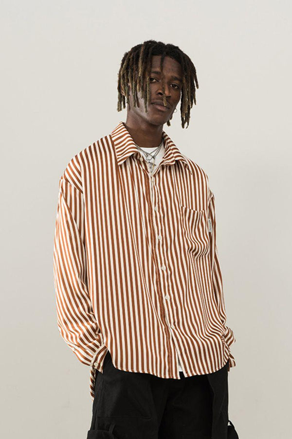 Empty Reference Brown Striped L/S Shirt