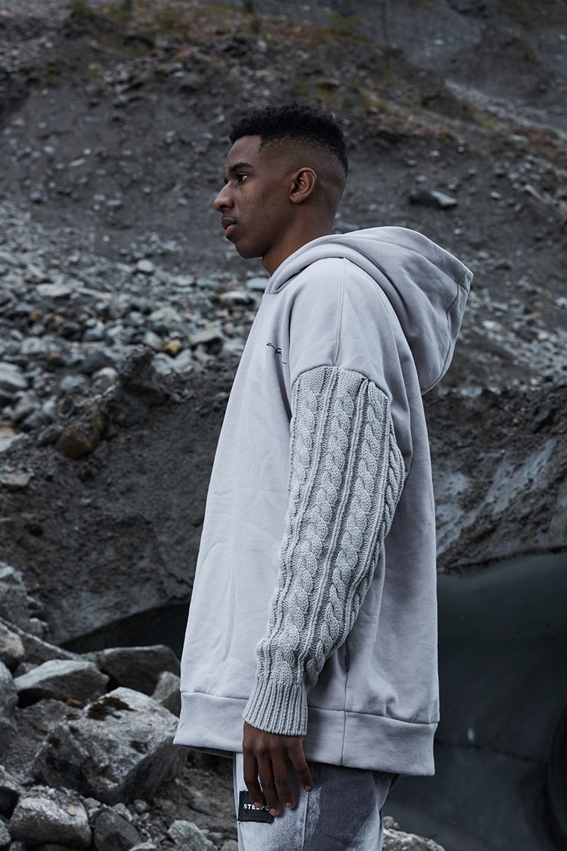 STEEPC Cable Knit Logo Hoodie
