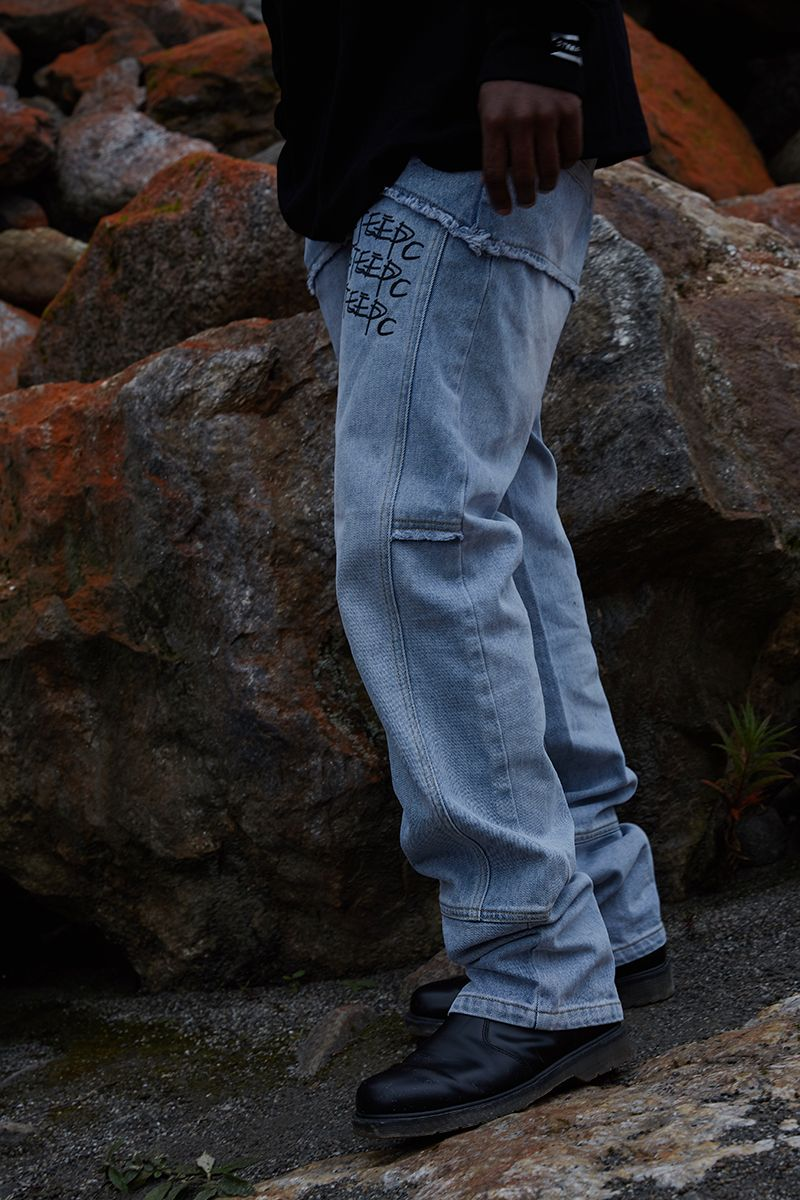 STEEPC Logo Graffiti Zipper Denim