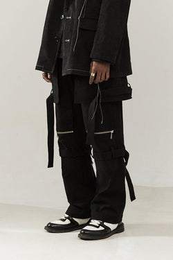 Empty Reference Black Straps Loose Trousers