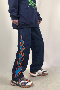 CZ Flame Embroidered Loose Denim