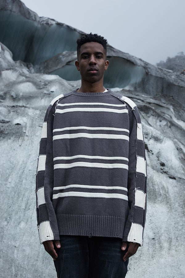 STEEPC Striped Distressed Sweater